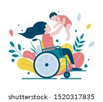 a woman in a wheelchair holds...   Shutterstock .eps vector #1520317835