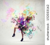 young attractive rock girl... | Shutterstock . vector #152033162