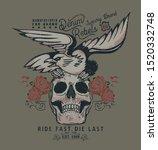 eagle and skull vintage custom... | Shutterstock .eps vector #1520332748