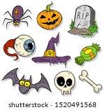 cartoon halloween colorful hand ... | Shutterstock .eps vector #1520491568