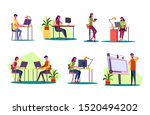 professional at workplaces set. ... | Shutterstock .eps vector #1520494202