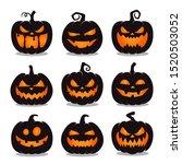 set of black halloween pumpkins ... | Shutterstock .eps vector #1520503052