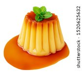 Small photo of Pudding caramel custard with caramel sauce and mint leaf isolated on white background