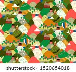 village landscapes with...   Shutterstock .eps vector #1520654018