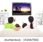 family watching the tv in... | Shutterstock . vector #152067002