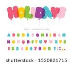 balloon comic font for kids.... | Shutterstock .eps vector #1520821715