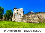 Medieval fortress tower wall landscape. Fortress tower view. Fortress tower wall view. Fortress wall tower scene