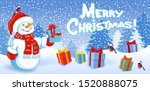 cartoon funny snowman with gift ... | Shutterstock .eps vector #1520888075