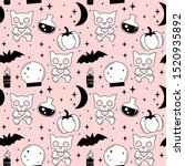 cartoon pink  black and white... | Shutterstock .eps vector #1520935892
