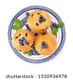 Plate With Blueberry Muffins On ...