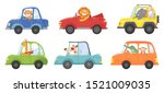 cute animals in funny cars.... | Shutterstock .eps vector #1521009035