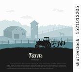 silhouettes of farm landscape.... | Shutterstock . vector #1521013205