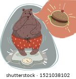 bear weighing herself on scale. ... | Shutterstock .eps vector #1521038102