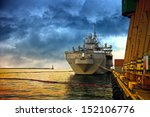 warship in the port of dramatic ... | Shutterstock . vector #152106776