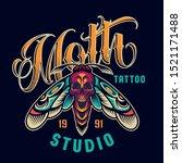 vintage tattoo studio colorful...   Shutterstock .eps vector #1521171488