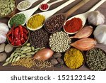 spices and herbs in metal ... | Shutterstock . vector #152122142