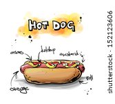 cool tasty hot dog. sketch  ... | Shutterstock .eps vector #152123606