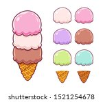 cartoon ice cream constructor... | Shutterstock .eps vector #1521254678