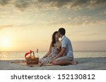 couple on beach with luxury... | Shutterstock . vector #152130812