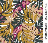 botanical seamless tropical... | Shutterstock .eps vector #1521334718