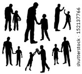 set silhouettes of man and boy, family, dad and son