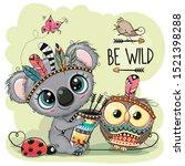 cute cartoon tribal koala and... | Shutterstock .eps vector #1521398288