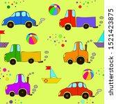 seamless cartoon car  ball ...   Shutterstock .eps vector #1521423875