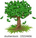 Conceptual  illustration. Money growing on a tree, representing perhaps green environmental investments or the growth of any savings or investment. - stock photo