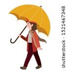 cute little girl with umbrella... | Shutterstock .eps vector #1521467348
