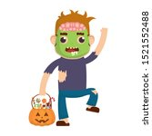 little boy with zombie and... | Shutterstock .eps vector #1521552488