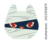 halloween cat mascot with mummy ... | Shutterstock .eps vector #1521552875