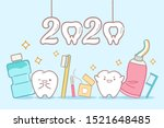 Cartoon Tooth With 2020 Year