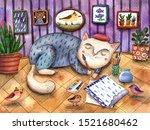 Watercolor Illustration A Cat...