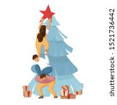 friends decorate christmas tree.... | Shutterstock .eps vector #1521736442
