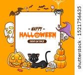 halloween poster design flat... | Shutterstock .eps vector #1521756635