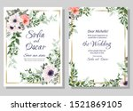 floral card for wedding... | Shutterstock .eps vector #1521869105