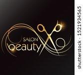 scissors and a golden curl of... | Shutterstock .eps vector #1521934565