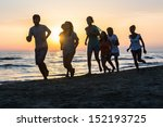 group of people running on the... | Shutterstock . vector #152193725