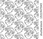 Santa Claus Face Line Drawig...