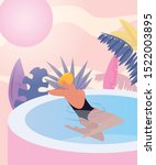 woman in the jacuzzi tropical... | Shutterstock .eps vector #1522003895