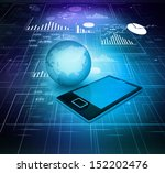 tablet and globe on abstract... | Shutterstock . vector #152202476