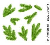 vector green fir branches... | Shutterstock .eps vector #1522034045
