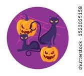 pumpkins with cats in halloween ... | Shutterstock .eps vector #1522035158