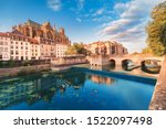 Cityscape scenic view of Saint Stephen Cathedrla in Metz city at sunrise. Travel landmarks and tourist destination in France