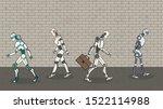 group of modern robots walking. ... | Shutterstock .eps vector #1522114988