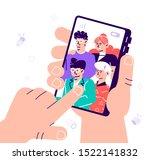 friends posing for selfie.... | Shutterstock .eps vector #1522141832