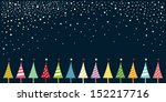 christmas card with christmas trees - stock vector
