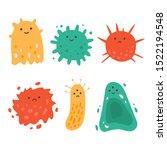 viruses kawaii illustration set.... | Shutterstock .eps vector #1522194548