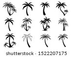 collection of black coconut... | Shutterstock .eps vector #1522207175