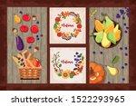 bundle of autumn cards seasonal ... | Shutterstock .eps vector #1522293965
